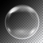 Realistic illustration of soap bubbles of round shape with reflections, isolated on transparent background - vector