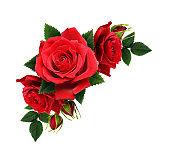 Red rose flowers in corner arrangement