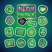 Neon St Patricks Day Sticker Pack