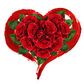Red rose flowers and brustrokes in heart shape arrangement
