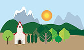 Church with red roof among trees, mountain landscape under blue sky with sun - vector, flat design