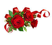 Corner arrabgement with red rose flowers and silk ribbon