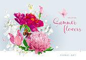 Red pink summer flowers bouquet
