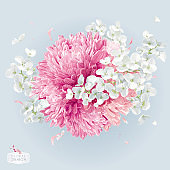 Chrysanthemums and Apple blossom vector arrangement