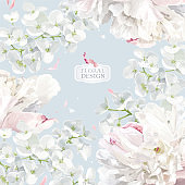 Peonies and Apple blossom floral vector background