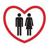 Heterosexual love icon. Man and woman.