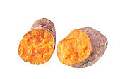 Sweet potato isolated on white background, Potatoes for healthy eating and healthy lifestyle, Nutrient purple food and high antioxidant