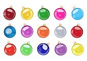 Set of colorful bauble balls for decoration. Vector illustration.