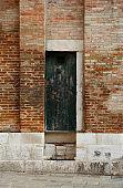 Ancient wooden door of a castle