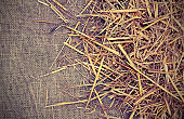 background of  jute fabric and straw with vintage old effect