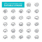 Cloud Network Editable Stroke Icons