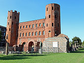 ancient roman city walls of red bricks of Turin in Italy