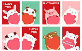 Valentine banner with cute animals