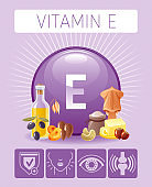 Vitamin E Tocopherol nutrition food icons. Healthy eating, antioxidant supplement text letter symbol, isolated background. Diet Infographic diagram. Table vector illustration. Butter, olive oil, squid