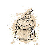 Vector illustration of hand draw wheat flour bag with wooden spoon, bread sketched concept. Black line art with watercolor splash, ear crop isolated on white background. Food engraving vintage icon