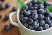 Fresh blueberries heap in ceramic bowl in close up view macro concept with copy space on wood table for background. Blueberry is healthy and delicious fruits which have high antioxidant and vitamin C.