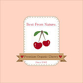Ripe red cherries on white background and pastel pink wallpaper. Tag or label design for premium and best quality organic cherry and all fruit products. Vector art by hand drawn illustration.