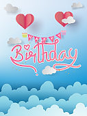 Paper art of Happy birthday elements background vector design for greetings card, flyers, invitation, posters, brochure, banners, calendar,characters,love,gift.