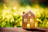 Wooden house in front of nature background
