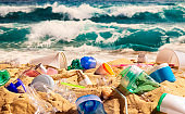 Beach full of plastic waste