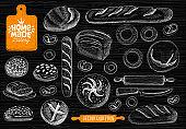 Home made bakery symbol, baking, bread vector collection. Bakery house symbol design, food shop. bread, baguette, bagels, home baking,