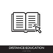 DISTANCE EDUCATION LINE ICON