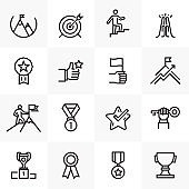 SUCCESS AND ACHIEVEMENT LINE ICONS SET
