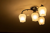 Pendant light with modern light bulb.Chandelier in ambient light.