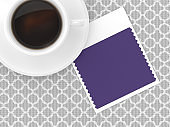 3d render of coffee and ultra violet swatch card