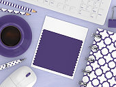 3d render of workspace with ultra violet swatch card
