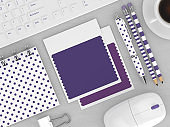 3d render of stationery and textile color swatches