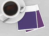 3d render of top view coffee and textile color swatches