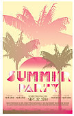 Summer party celebration invitation design template with palm trees