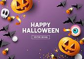 Happy Halloween Purple Frame Background