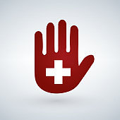 Illustration of an isolated hand with a first aid icon or cross.