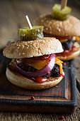 Hamburger with pickled cucumbers
