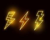 Neon Glowing Hot Lightning Bolts