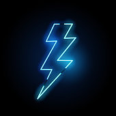 Blue Lightning Bolt Neon Light