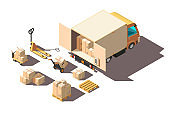Isometric 3d light shipment truck with forklift and box for delivery moving.