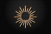 Vector realistic isolated neon sign of sunburst for decoration and covering on the wall background.