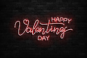 Vector realistic isolated neon sign of Happy Valentines Day logo for template decoration and covering on the wall background.