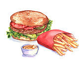 Hand-drawn watercolor fast food illustration