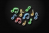 Vector realistic isolated neon sign of notes for decoration and covering on the wall background. Concept of music and dj.