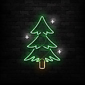 Vector realistic isolated neon sign of Christmas Tree logo for decoration and covering on the wall background. Concept of Merry Christmas and Happy New Year.