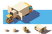 Isometric 3d set shipment truck with forklift and box for delivery moving.