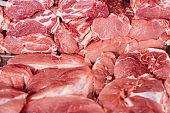 close up view of arranged raw meat in grocery shop