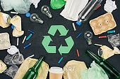 top view of various types of trash around recycle sign on black