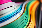 close up of colored bright quilling paper