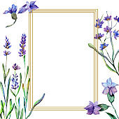 Purple lavender flowers. Watercolor background. Gold crystal frame square. Stone polyhedron mosaic shape.