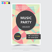 Party music poster,brochure,flyer design template.